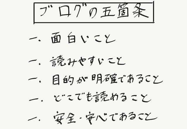 ブログの5箇条・手書き