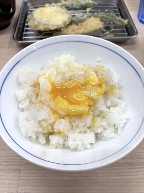 天ぷら卵かけご飯の完成